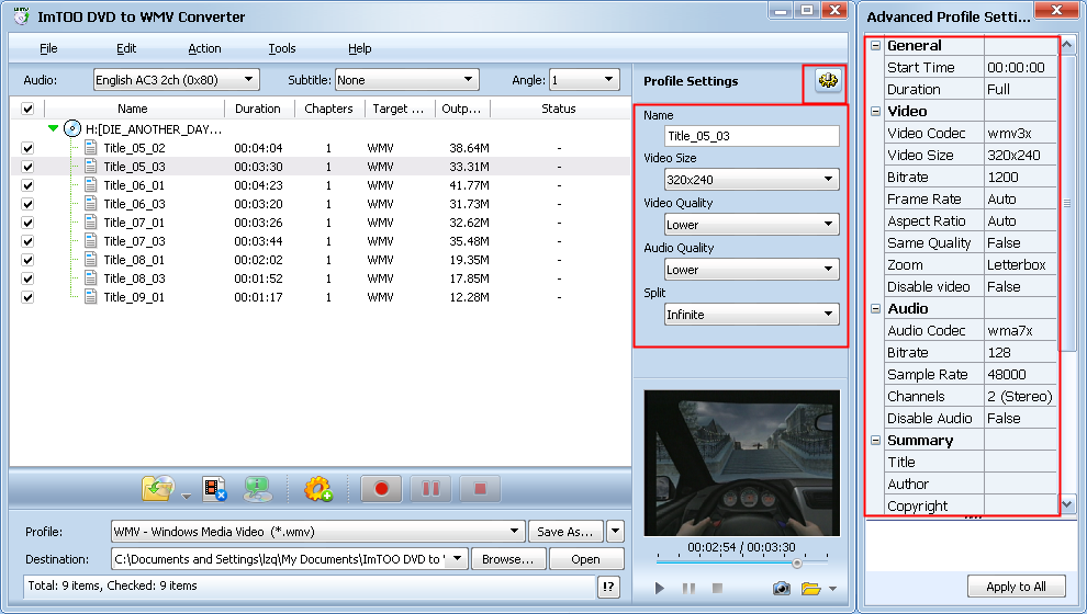 ImTOO DVD to Pocket PC Ripper Guide - Set output folder.