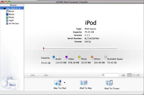 trasferimento da iPod su mac