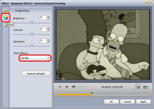 aggiungere effetti al video