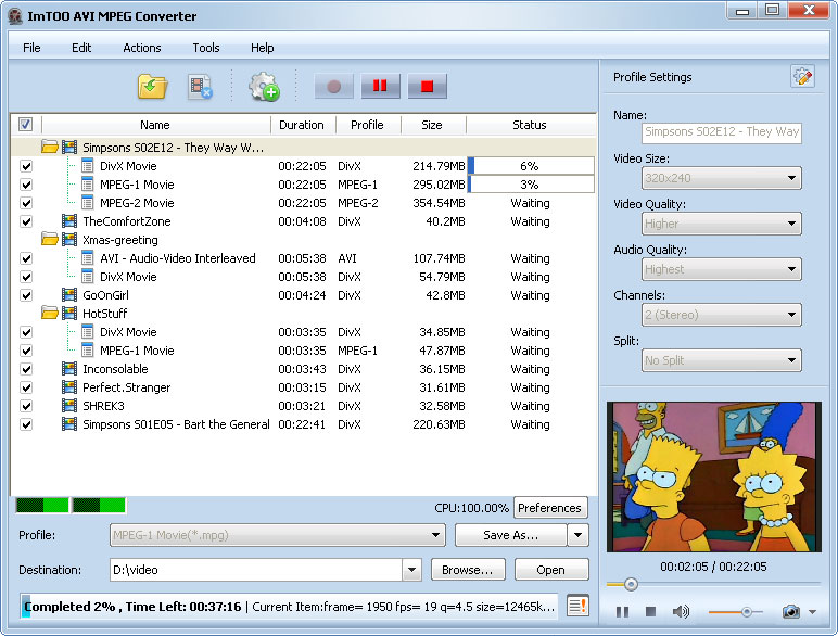 ������ ImTOO AVI MPEG Converter v5 ������ ����� ������� �� � ��� AVI � MPEG ����