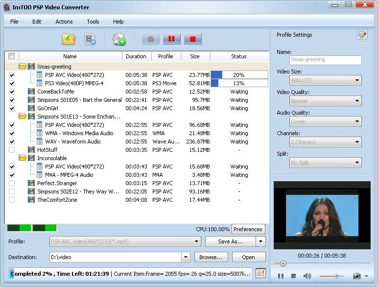 ����� ImTOO PSP Video Converter v5 ������ ������� �� ���� ���� PSP